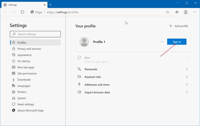 Turn on or off data sync in Microsoft Edge (9.1)