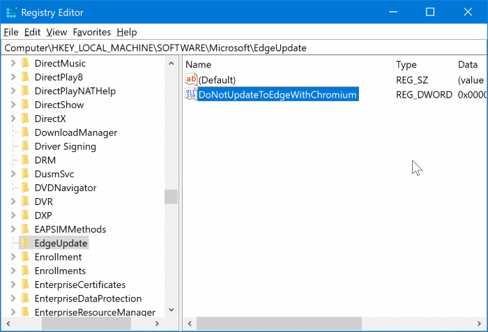 block Chromium based Edge from automatically installing in Windows 10 pic04