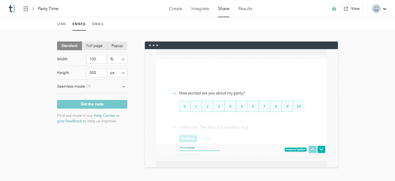 Typeform embeddable form tool