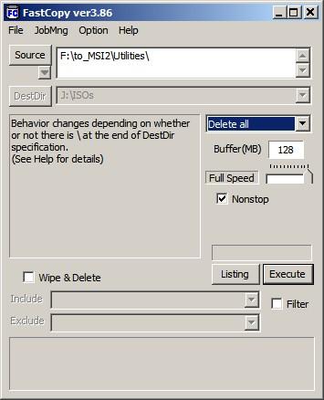 FastCopy Main Interface