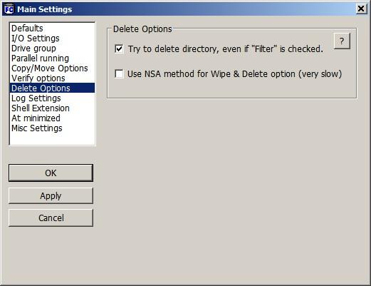 FastCopy Delete Options