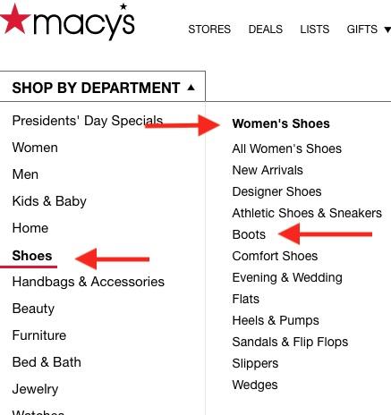 """Ang Macy's """"Shop by Department"""" nabigasyon ay tatlong antas ng malalim, tulad ng """"Sapatos,"""" """"Sapatos ng Babae,"""" at """"Boots."""""""