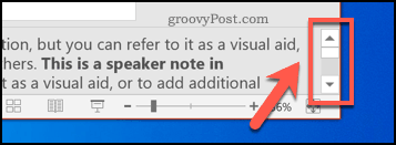 PowerPoints speaker notes scroll bar