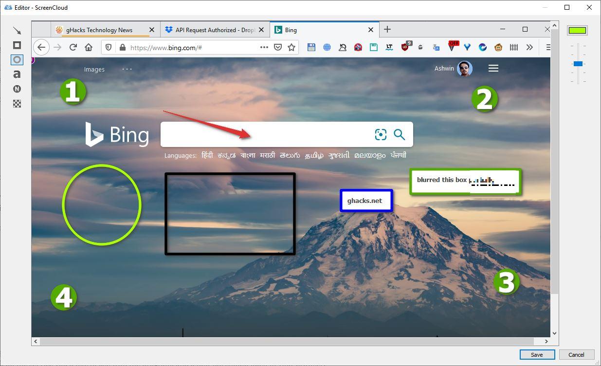 Editor ng imahe ng ScreenCloud