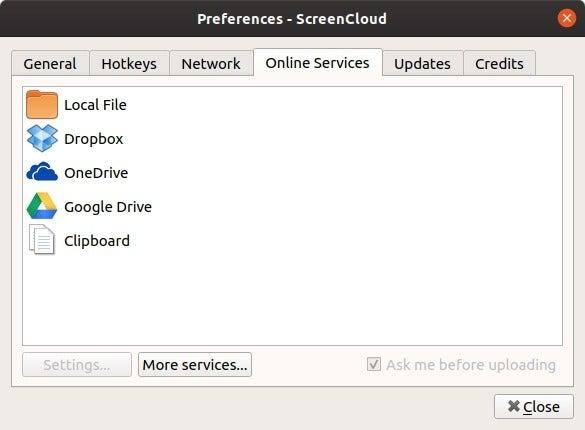 Mga pagpipilian sa ScreenCloud