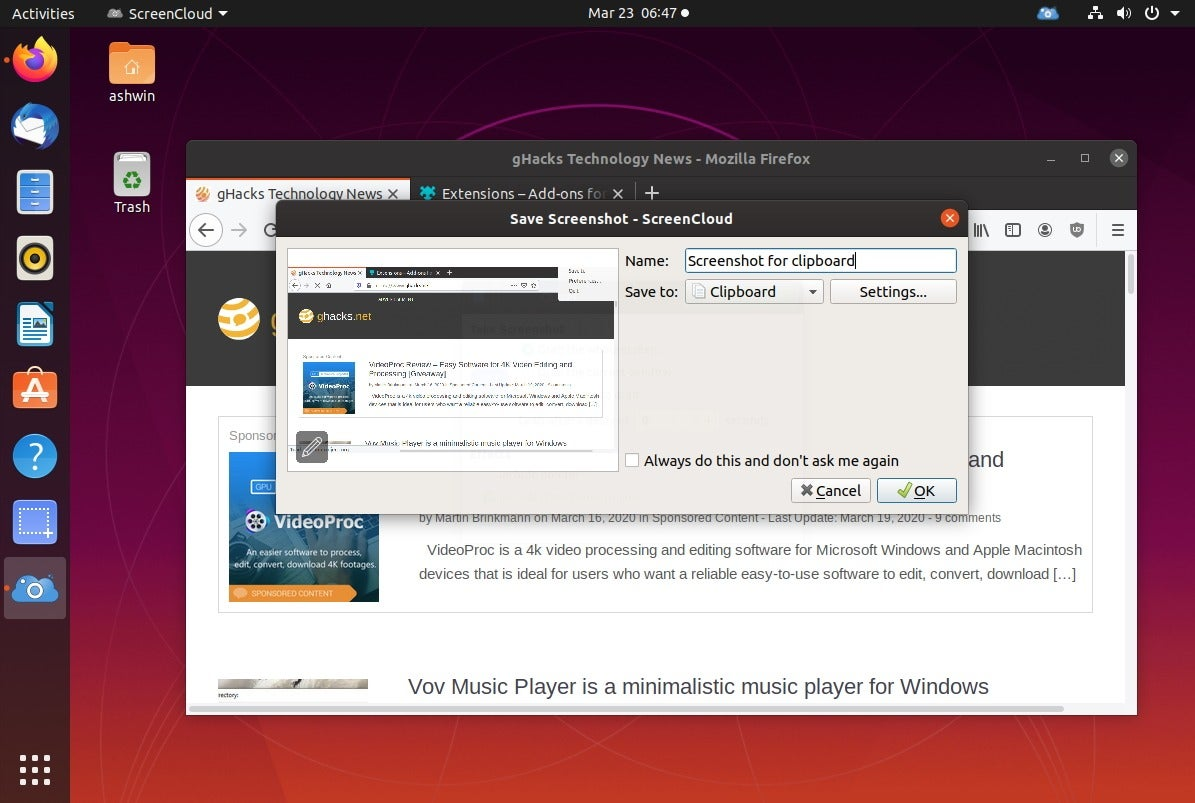 Screencover window capture ang linux