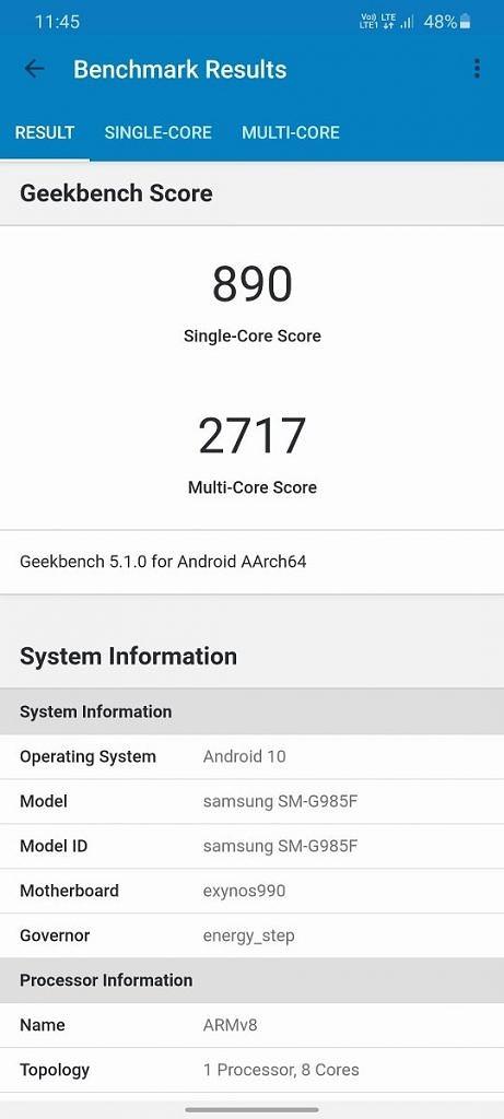 Samsung Galaxy S20 Geekbench