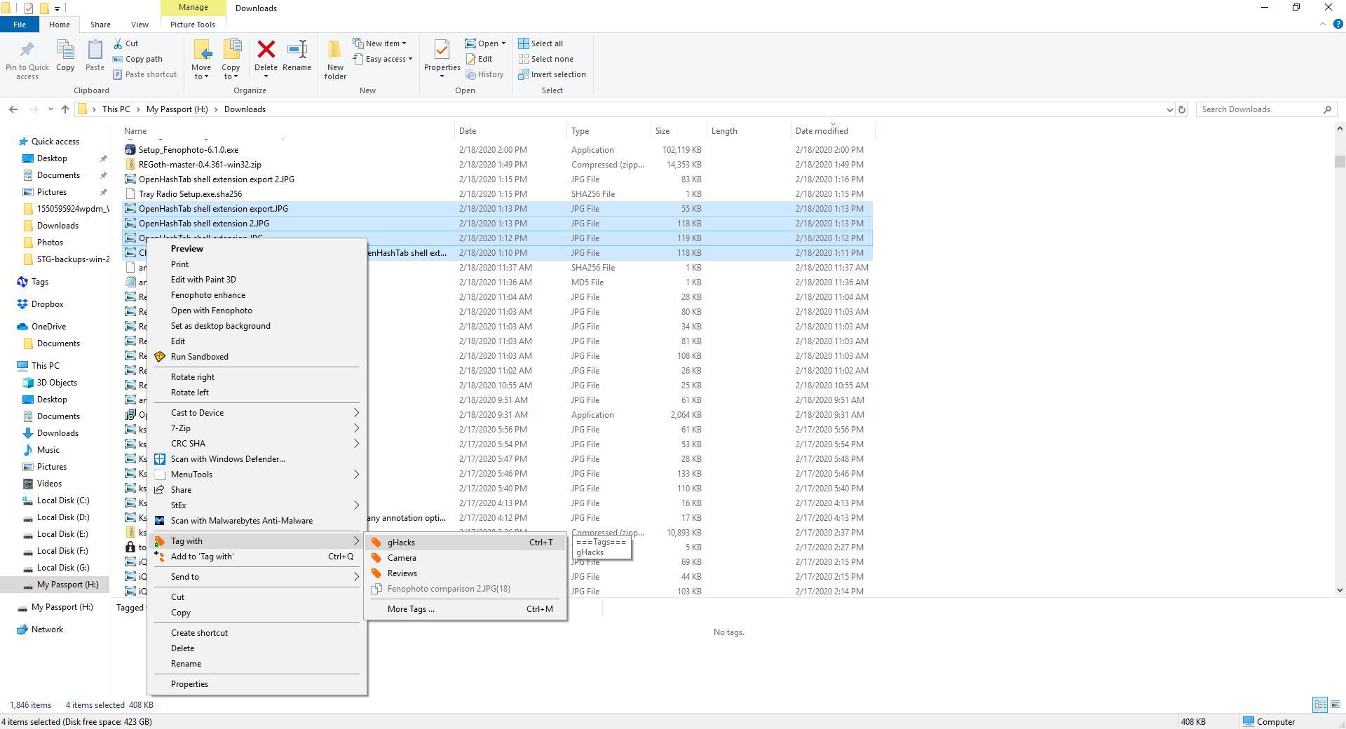 Теги для Windows - контекстне меню
