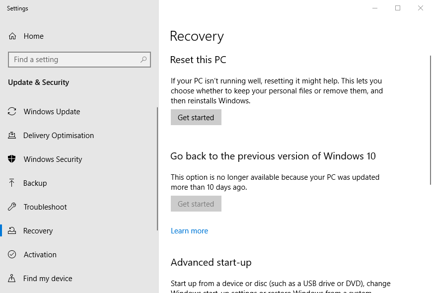 """Кнопка """"Початок роботи"""" 0x800f0986 windows Помилка оновлення"""