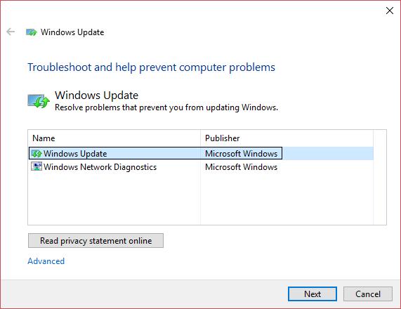 use Windows Update Troubleshooter