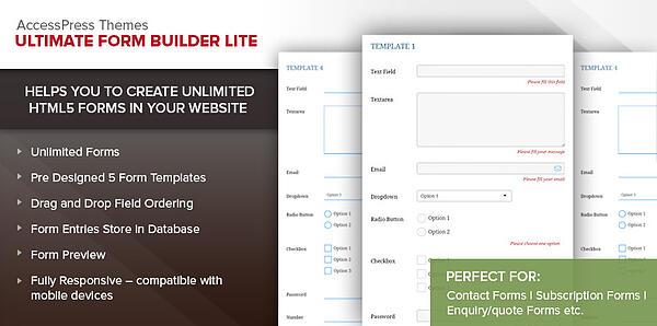 Ultimate form builder lite website screenshot showing form options
