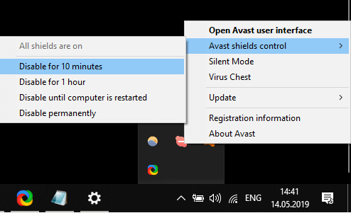Параметри керування екранами Avast 0x800f0986 windows Помилка оновлення