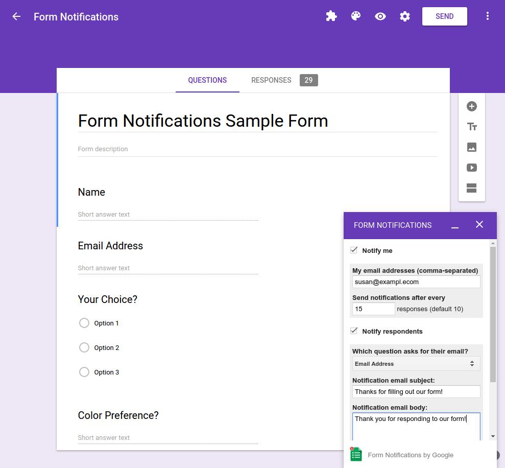 Google form builder form designer with options