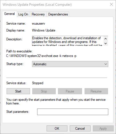 Windows Вікно властивостей оновлення 0x800f0986 windows Помилка оновлення