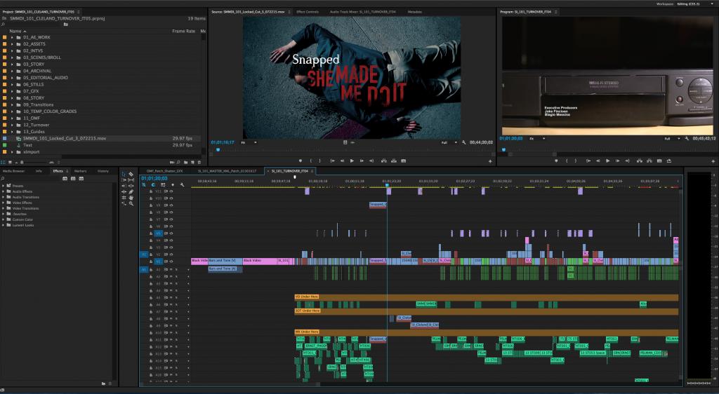 Interface of Adobe Premiere