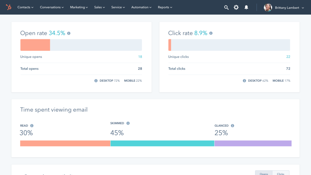Hubspot email reports