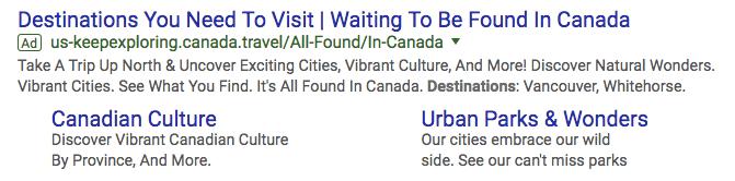 destination canada google ads campaign