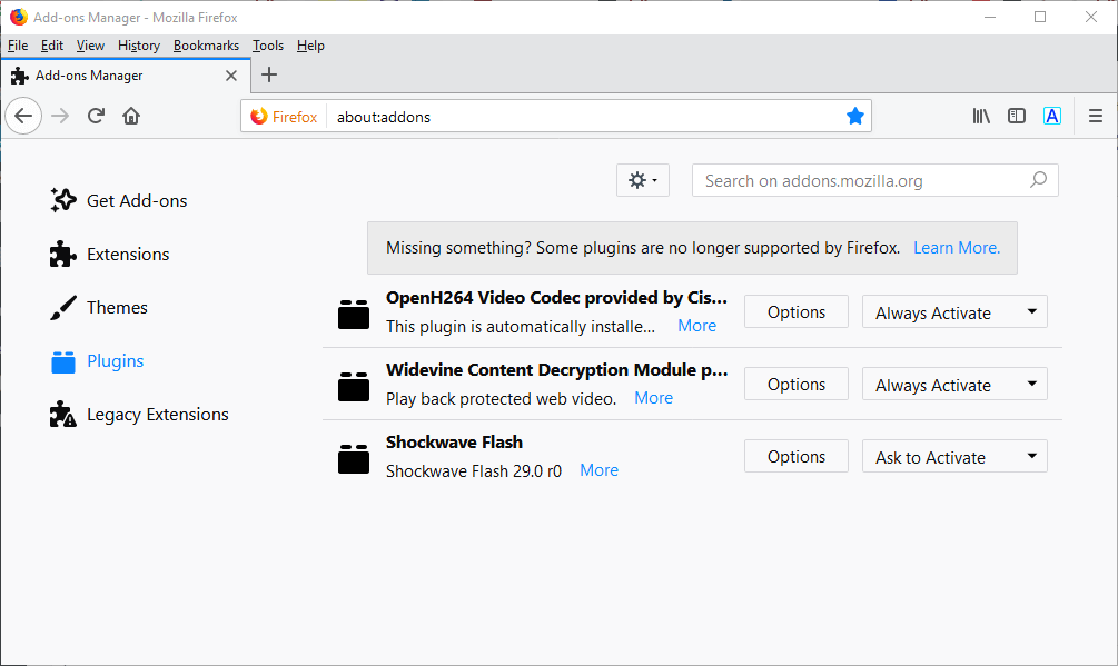 firefox addons unblock adobe flash content