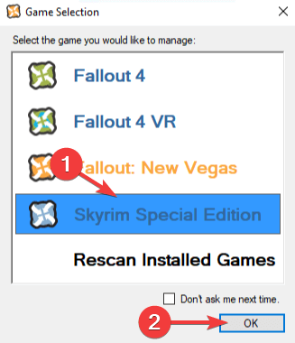 Nexus game rescan - nexus mod manager is not set up to work with skyrim