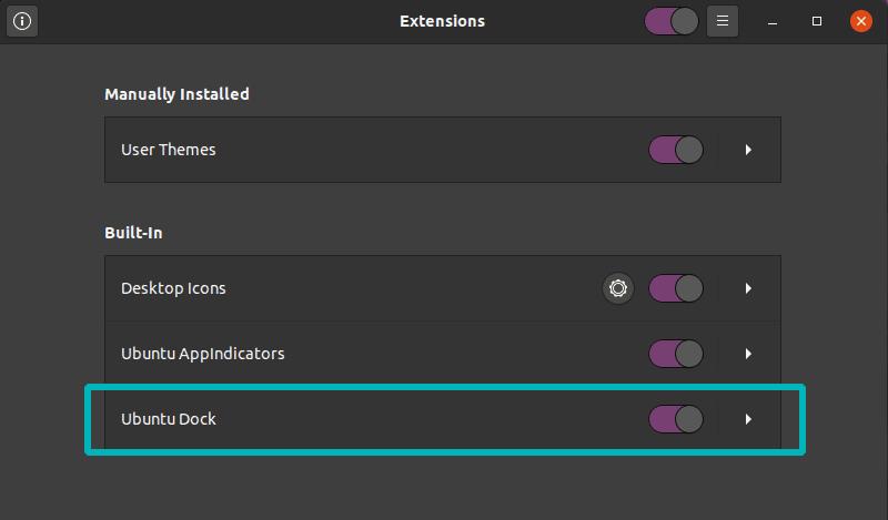 Disable Dock Ubuntu 20 04