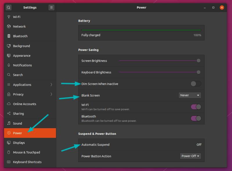Power Settings Ubuntu 20 04