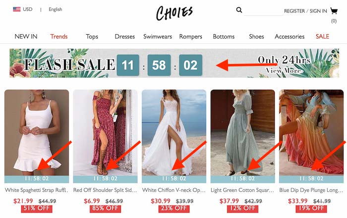 Fashion category page with a countdown timer showing how much longer you have to buy.