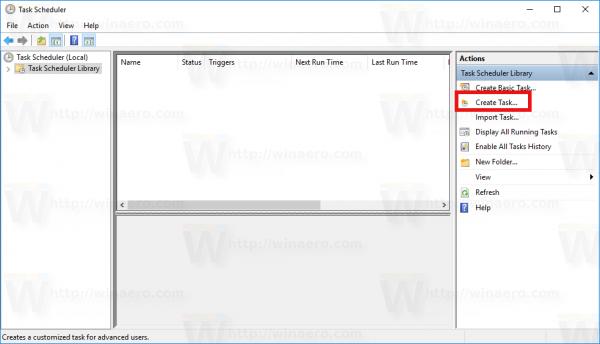 Windows 10 Create Task link