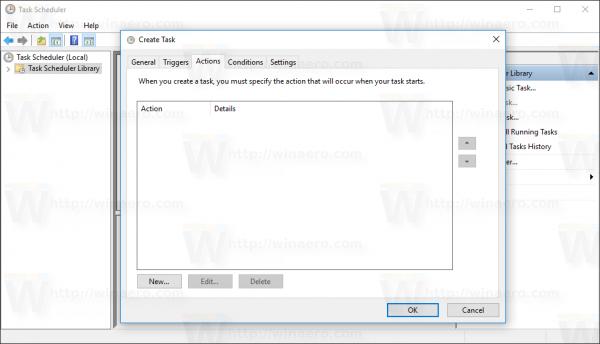 Windows 10 Create Task window Actions tab