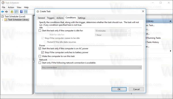 Windows 10 Create Task window Conditions tab