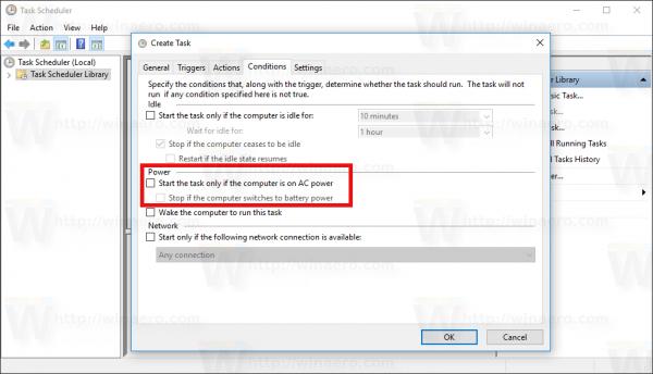 Windows 10 Create Task window Conditions unticked