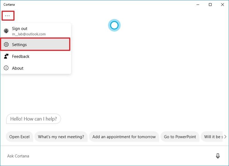 Cortana settings option