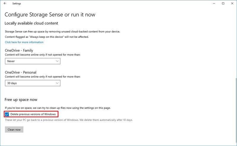 Windows 10 delete previous version option