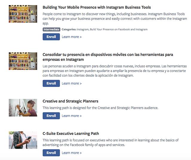 Facebook Blueprint social media marketing course catalog
