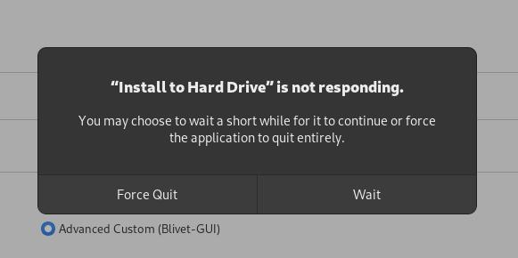 Installer, frozen, not responding