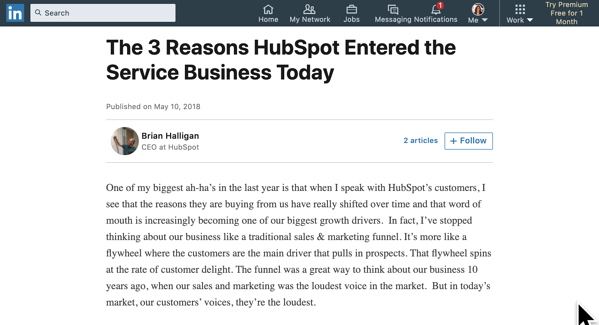 LinkedIn article by Brian Halligan CEO of Hubspot