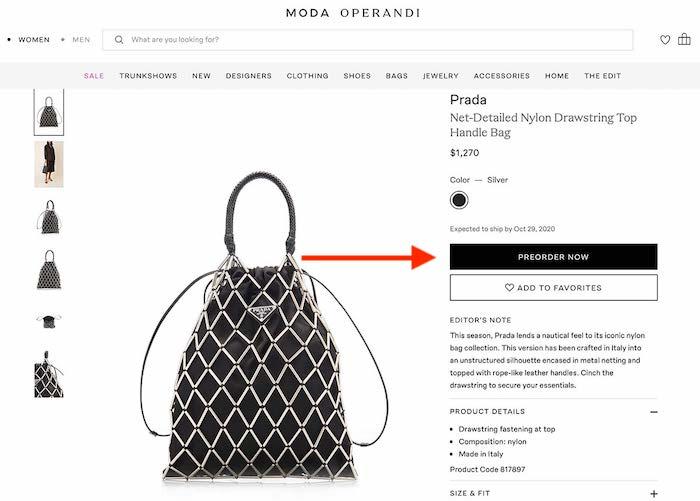 Black Prada purse product page with $1,200 price tag.