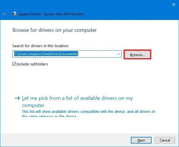 Device Manager update driver settings