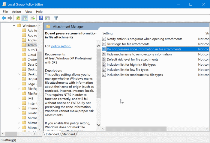 stop Windows 10 from blocking downloaded files pic1