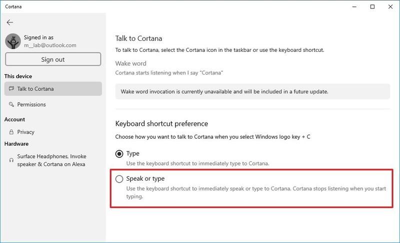 Task to Cortana settings