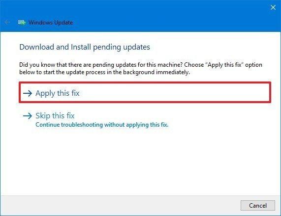 Windows Update troubleshooter apply fix option