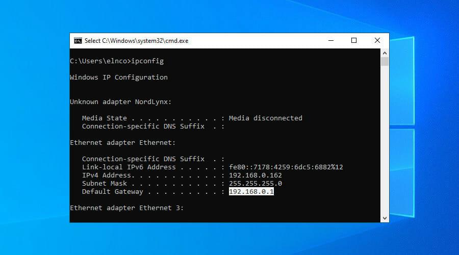 copy default gateway in Command Prompt