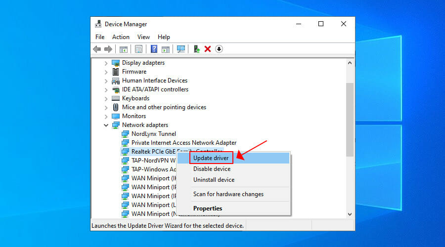 update drives from Device Manager in Windows 10
