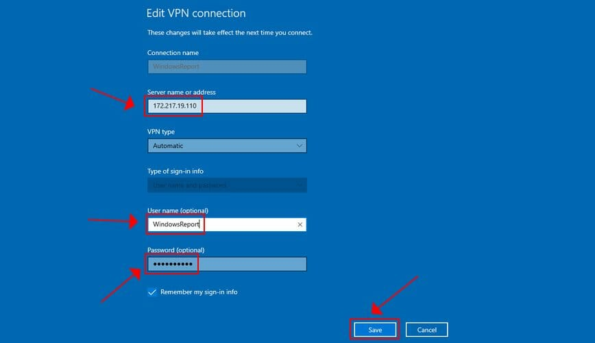 edit VPN connection details in Windows 10