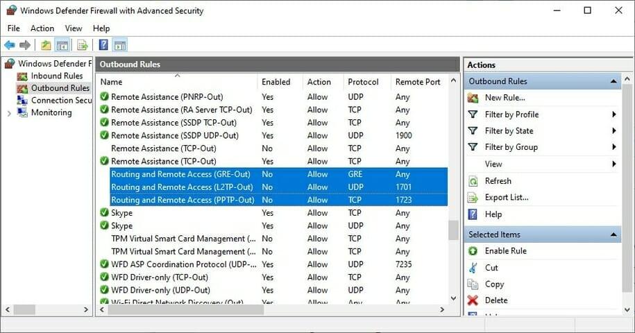 check the Windows 10 firewall