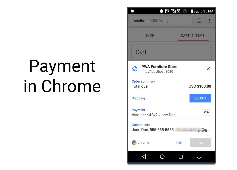 "An example of a checkout using the Payment Request API in Chrome on a mobile device. Source: <a href=""https://developers.google.com/web/fundamentals/codelabs/payment-request-api"">Google Code Labs</a>."