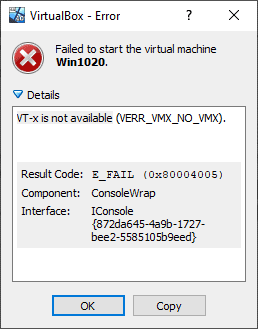 Virtual Box error - VT-x is not available