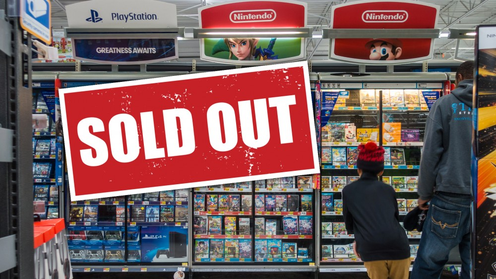 """Walmart game console shelf with """"sold out"""" sign"""