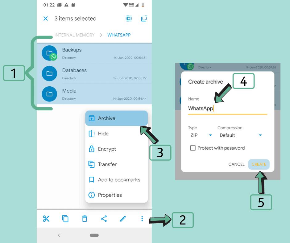 Create a zip archive of WhatsApp folder