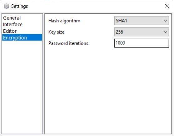 Crypto Notepad settings encryption