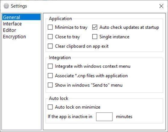 Crypto Notepad settings